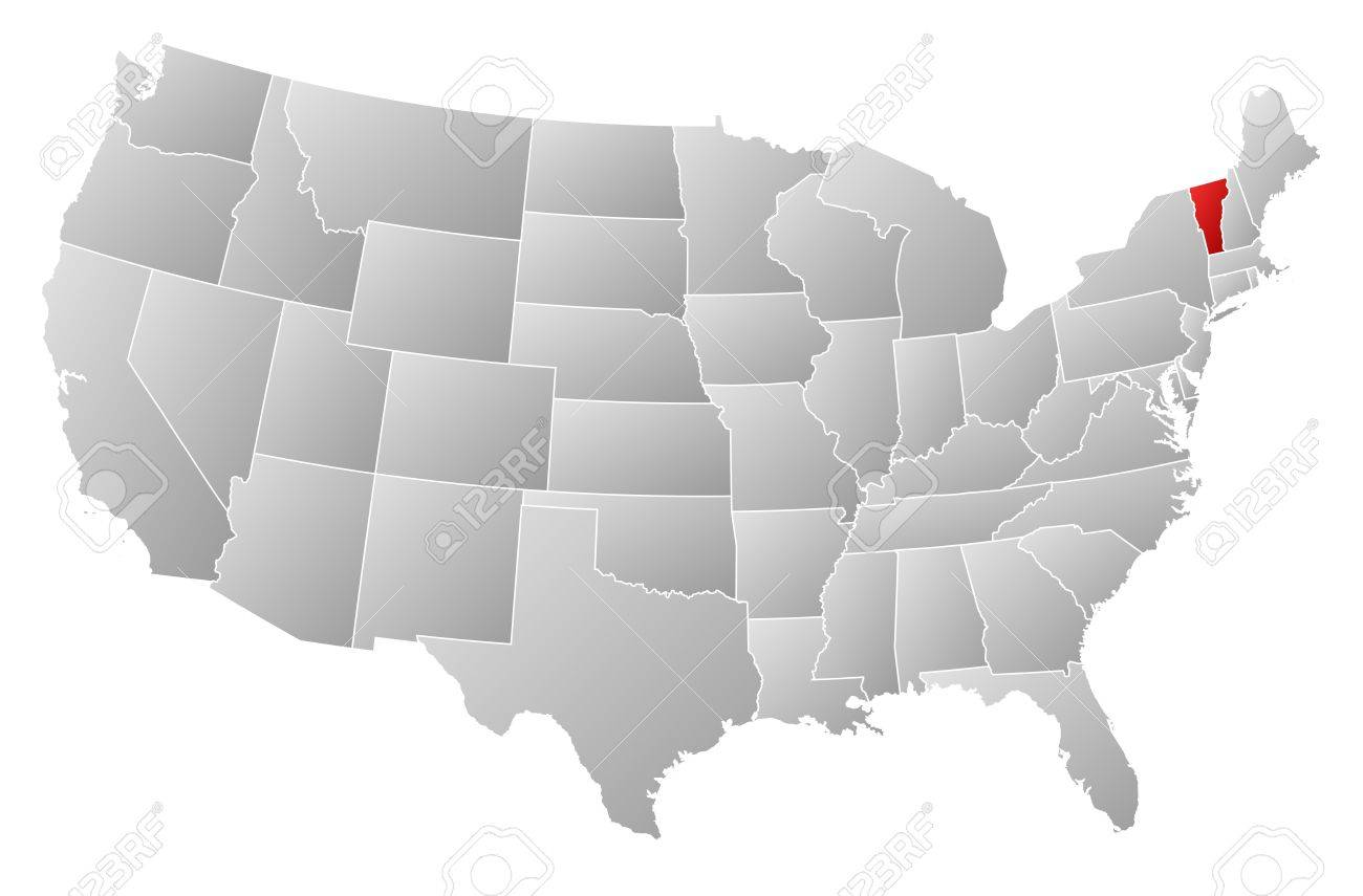 Political Map Of United States With The Several States Where - Us map vermont