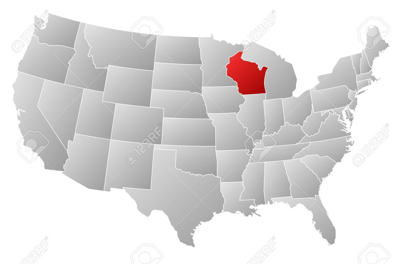 Political Map Of United States With The Several States Where - Wisconsin on a us map