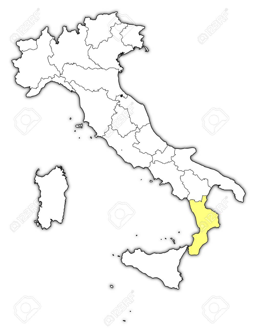 Political Map Of Italy With The Several Regions Where Calabria