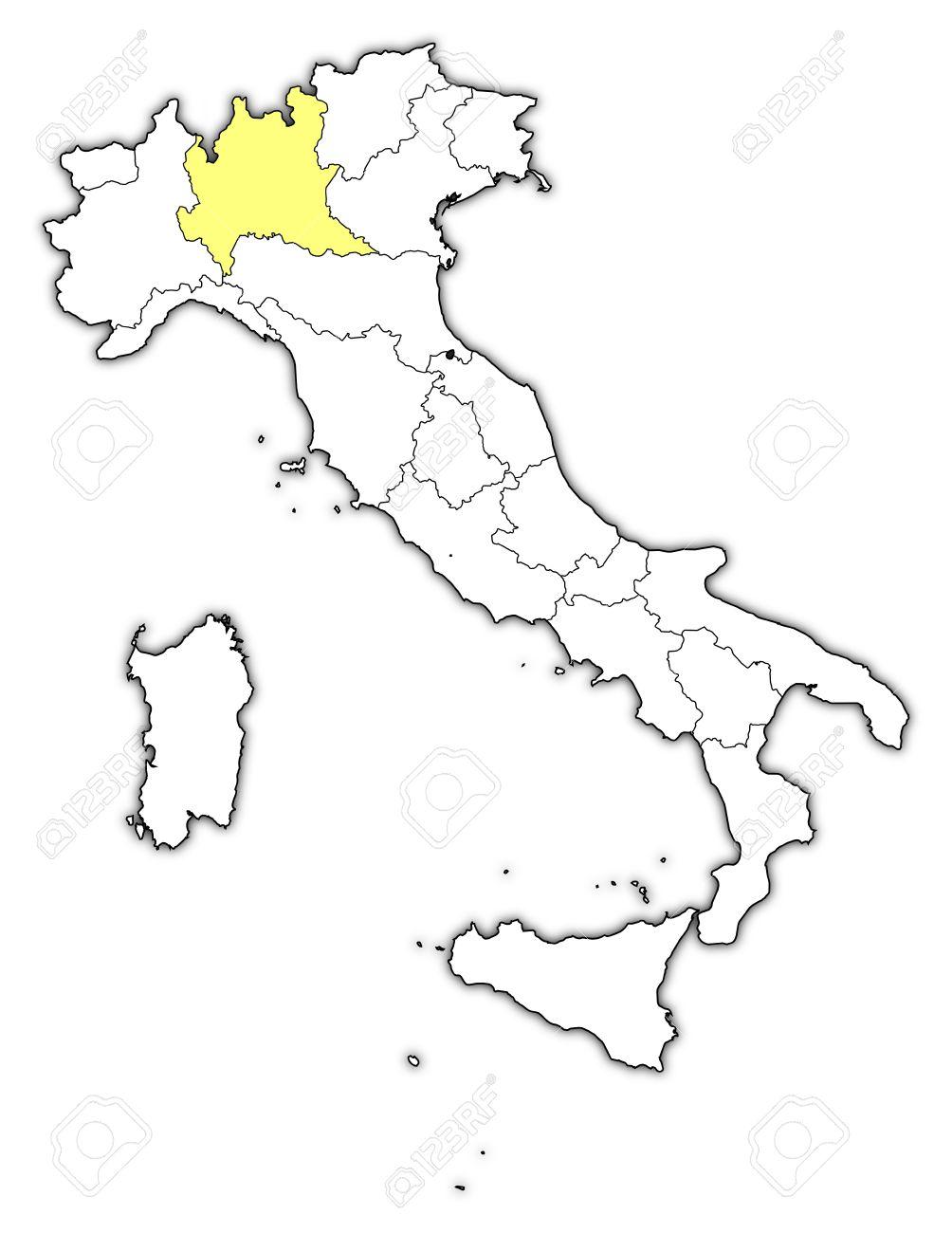 Cartina Italia Politica Lombardia.Mappa Politica D Italia Con Le Varie Regioni In Cui E Evidenziato Lombardia