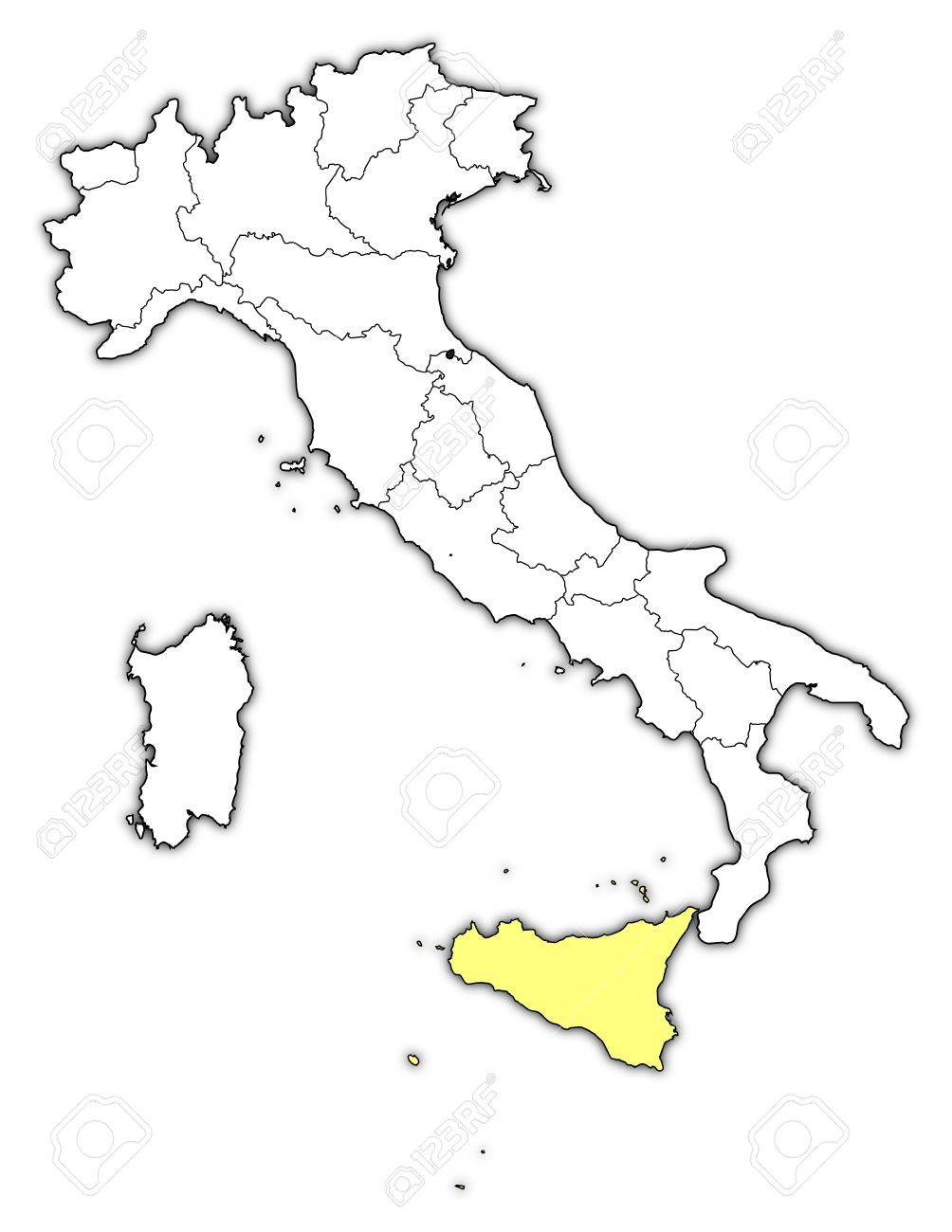 Political Map Of Italy With The Several Regions Where Sicily ...
