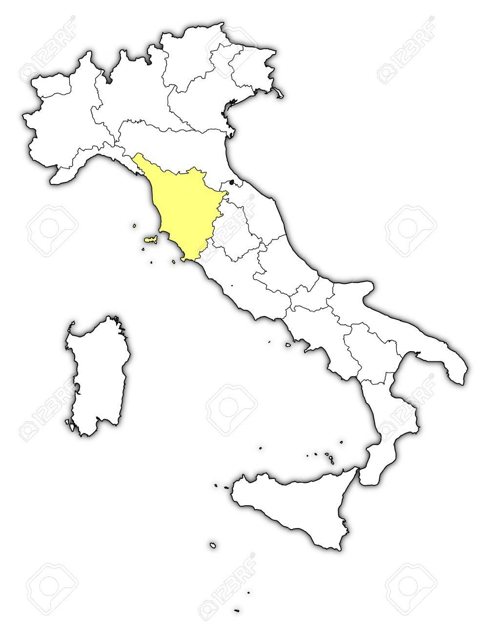 Political Map Of Italy With The Several Regions Where Tuscany - Tuscany on italy map