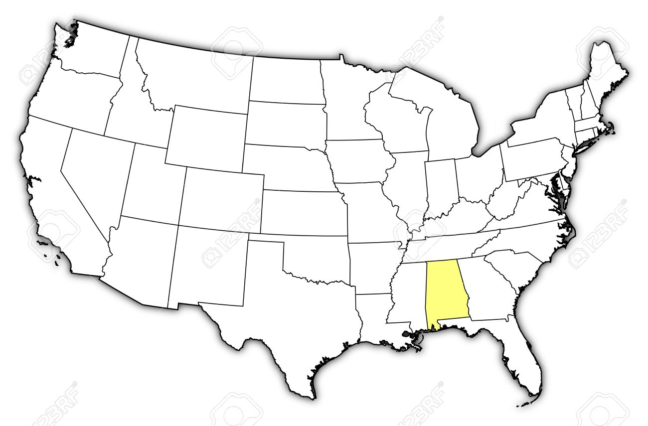 Political Map Of United States With The Several States Where - Us map alabama