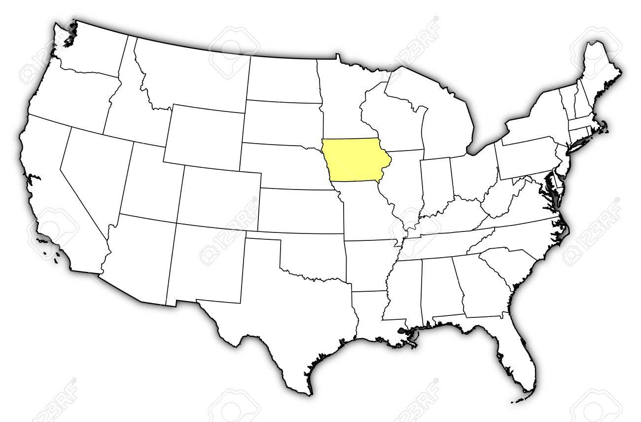 Political Map Of United States With The Several States Where - Map of us iowa