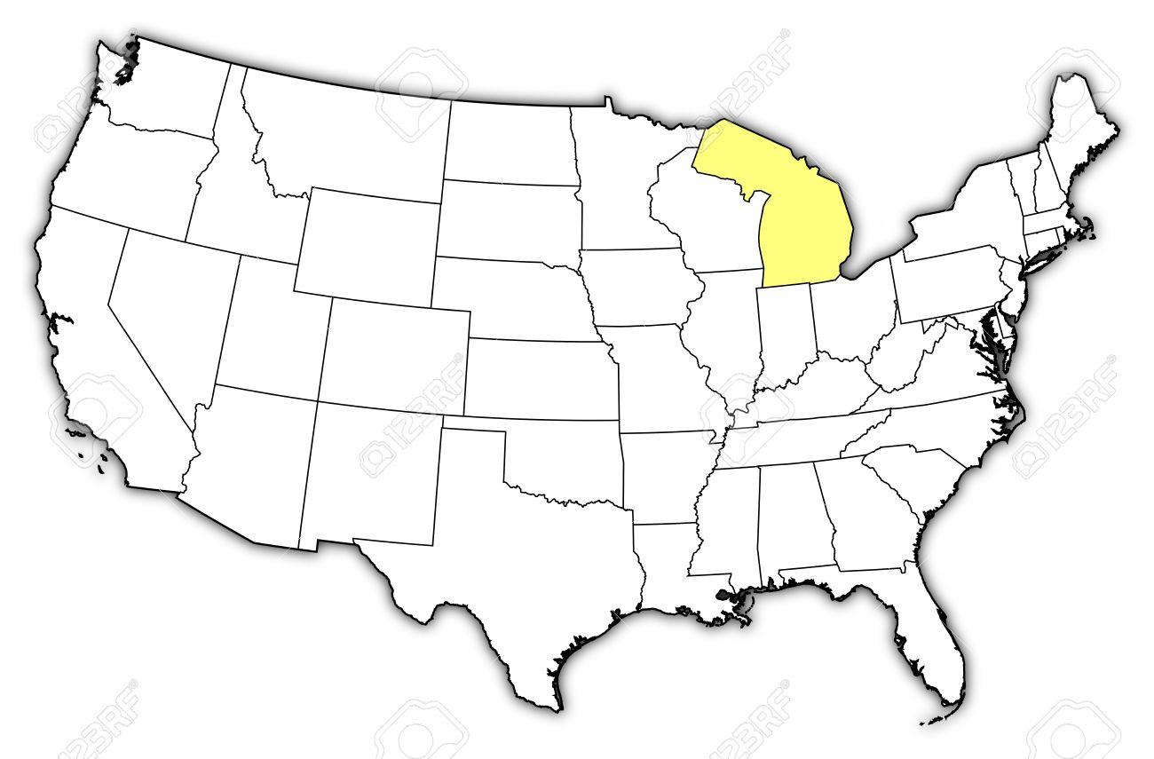 Political Map Of United States With The Several States Where - Michigan map united states