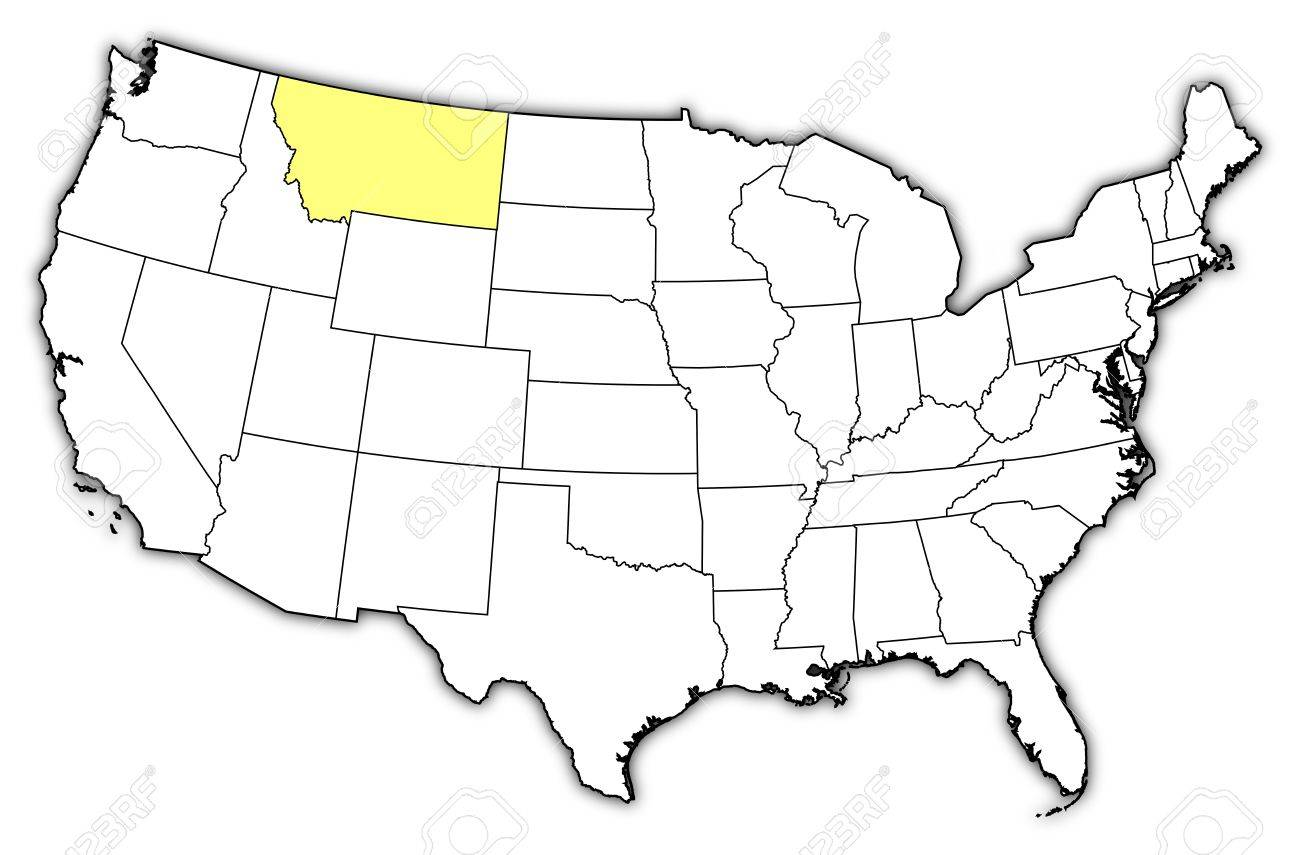 Political Map Of United States With The Several States Where - Montana political map