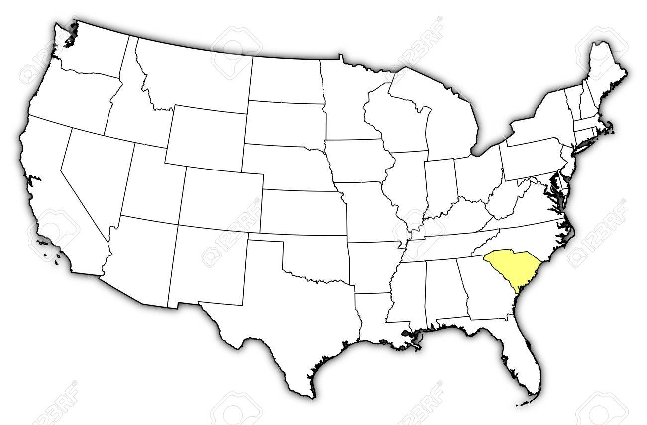 Political Map Of United States With The Several States Where - Carolina map us
