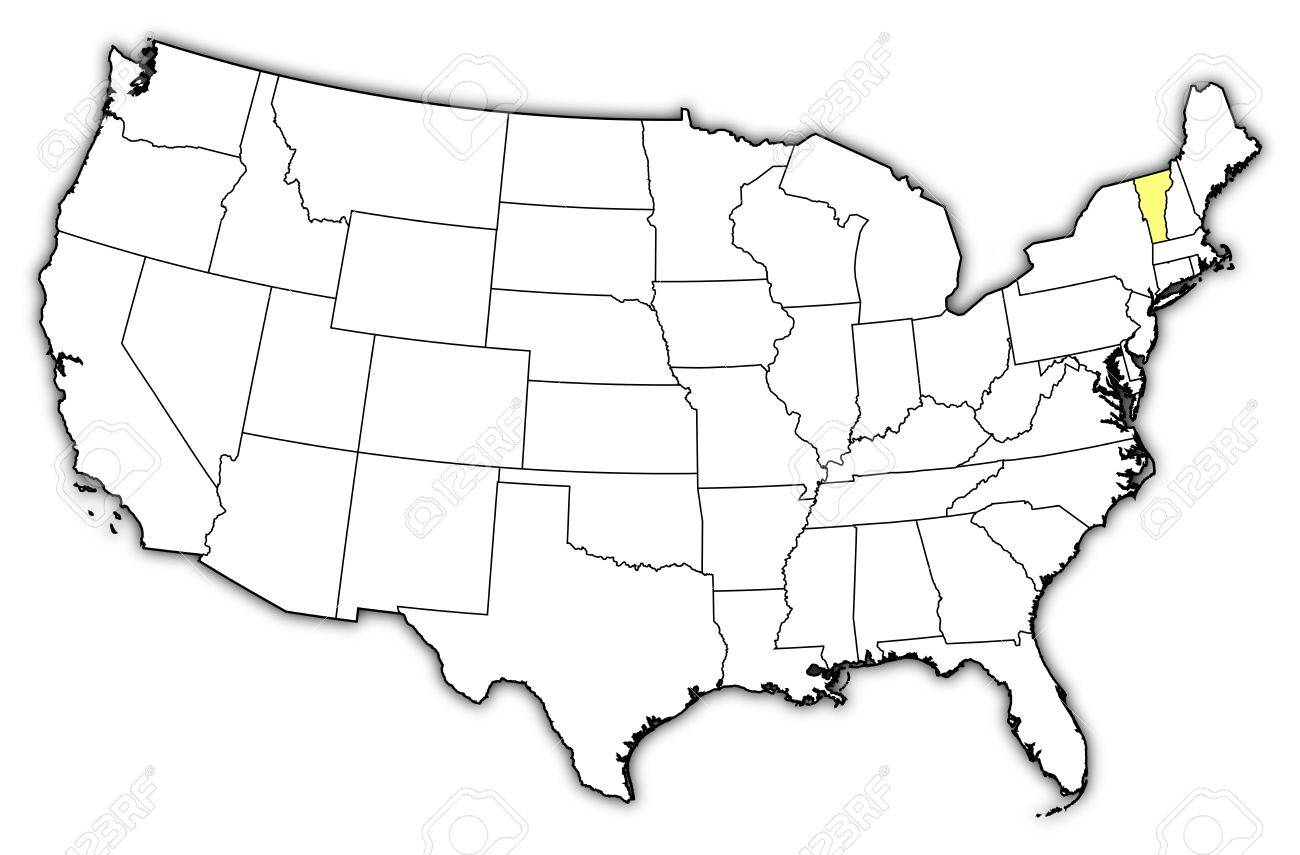 Political Map Of United States With The Several States Where - United states map vermont