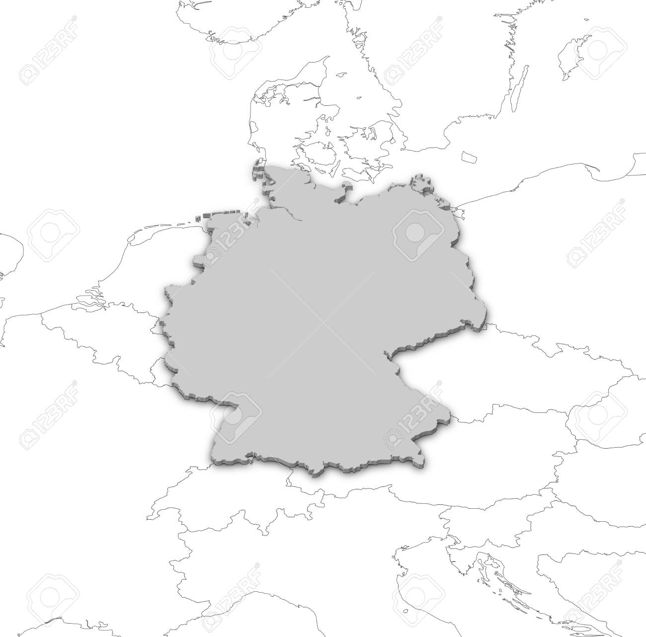 Political Map Of Germany With The Several States Stock Photo