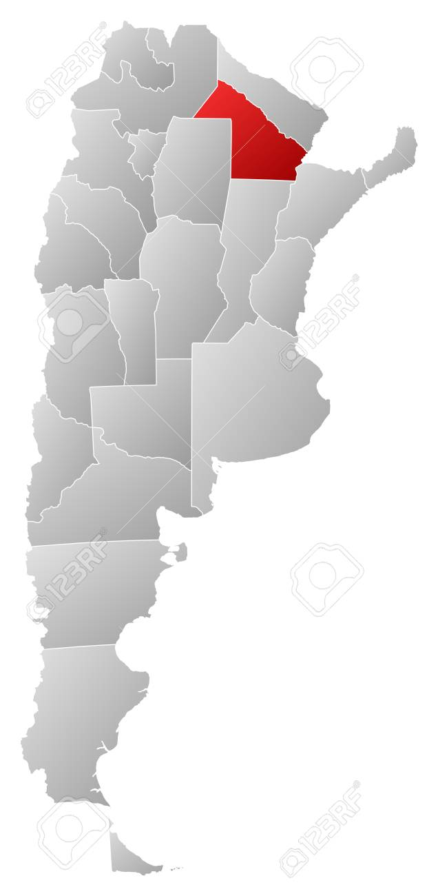 Political map of Argentina with the several provinces where Chaco is highlighted. Stock Vector - 14112668