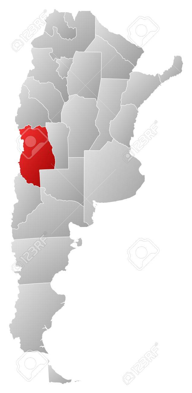Political map of Argentina with the several provinces where Mendoza is highlighted. Stock Vector - 14112673