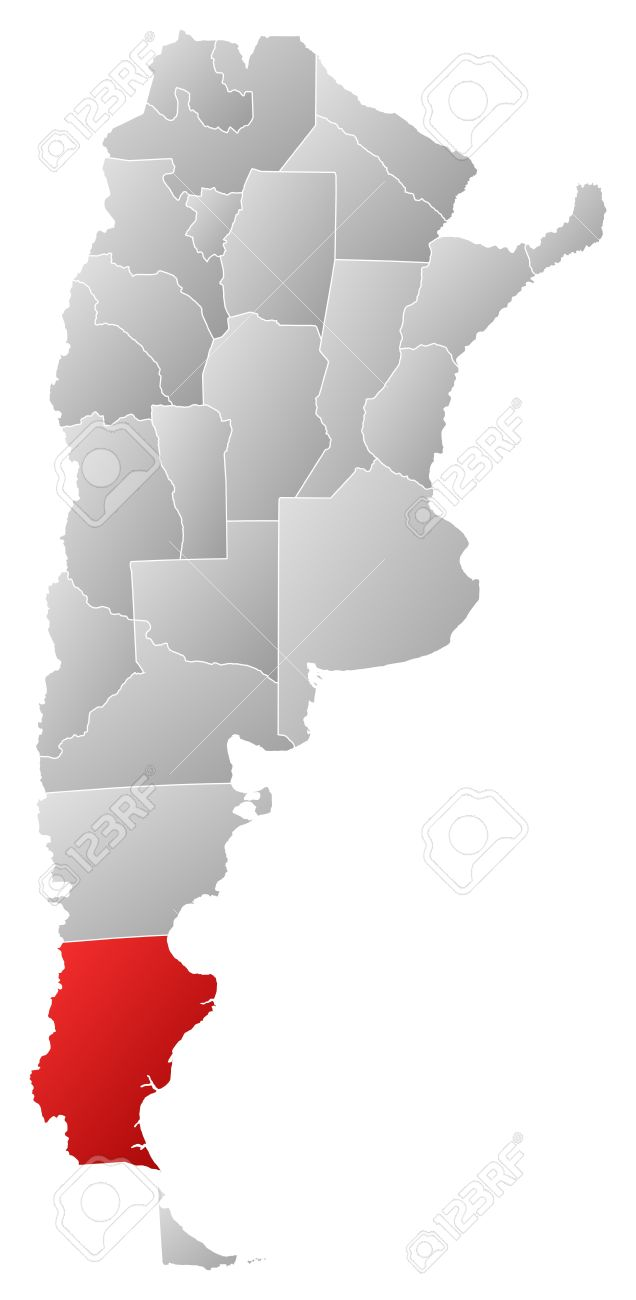 Political map of Argentina with the several provinces where Santa Cruz is highlighted. Stock Vector - 14112634