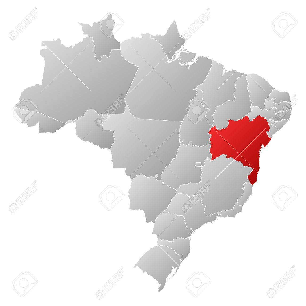 Political map of brazil with the several states where bahia is political map of brazil with the several states where bahia is highlighted stock vector gumiabroncs Choice Image