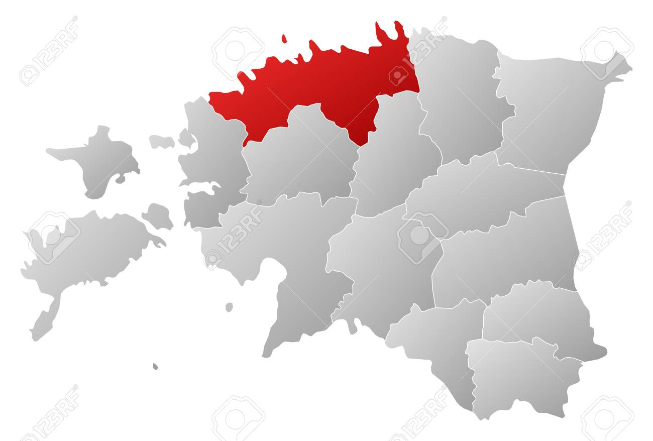 political map of estonia with the several counties where harju is highlighted stock vector