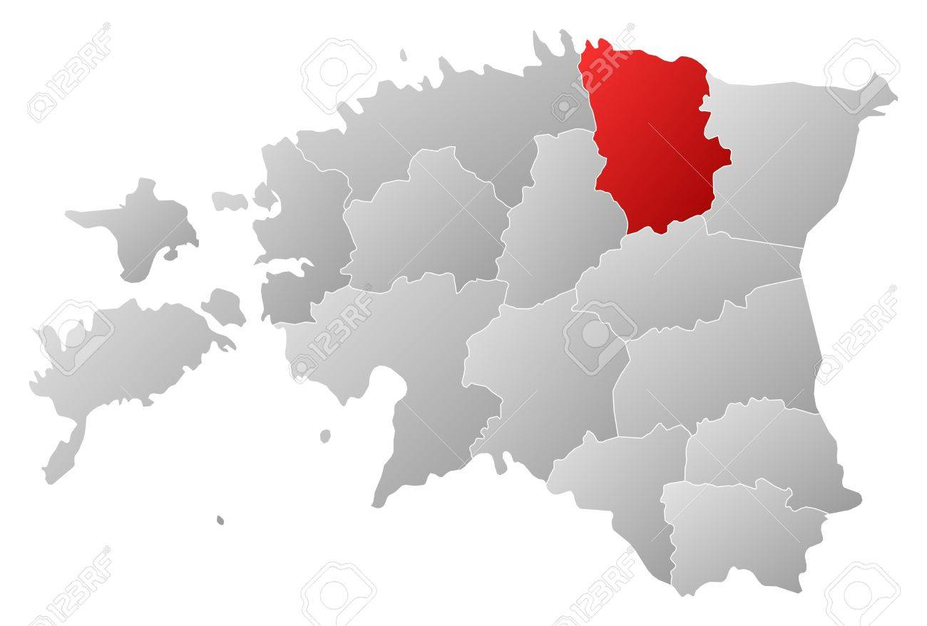 Political map of Estonia with the several counties where L��ne-Viru is highlighted. Stock Vector - 14112503