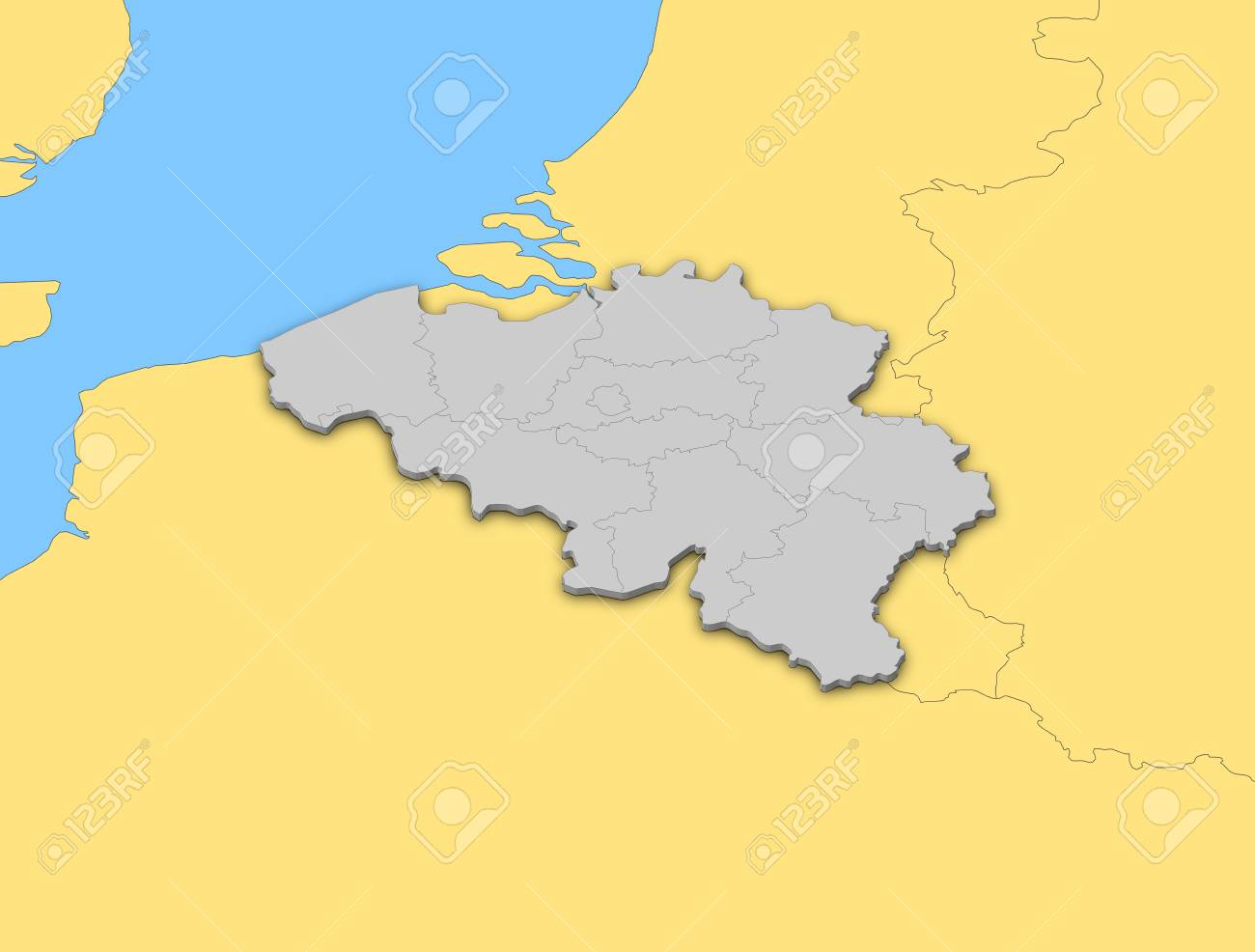 political map of belgium with the several states stock photo 14200179
