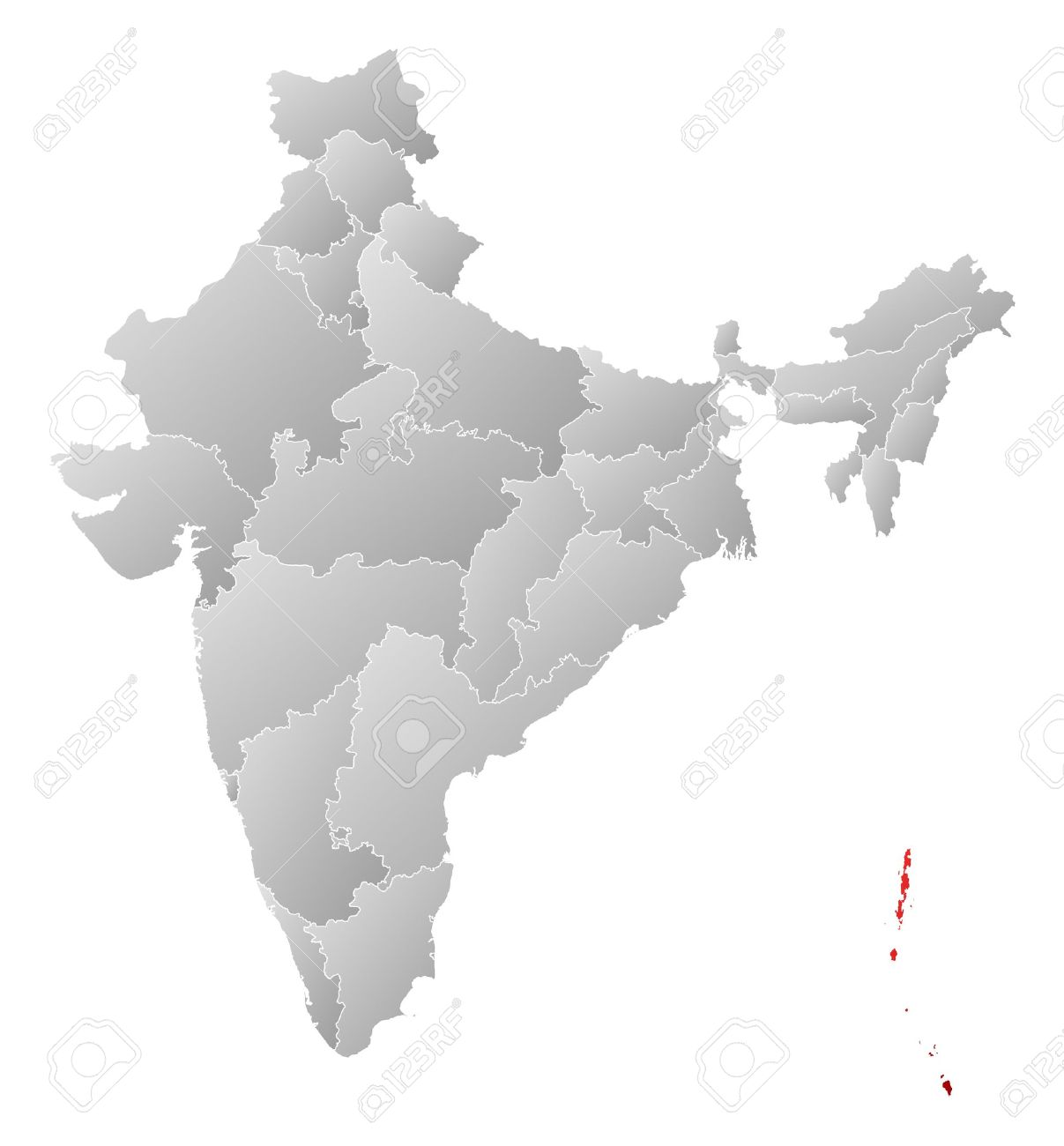 political map of india with the several states where andaman