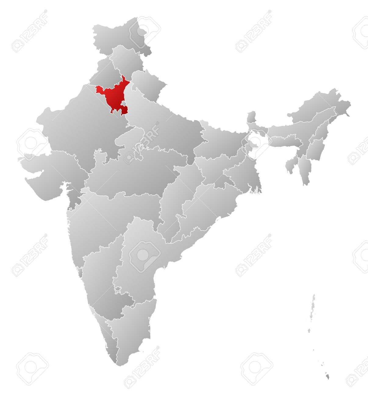 Haryana India Map.Political Map Of India With The Several States Where Haryana