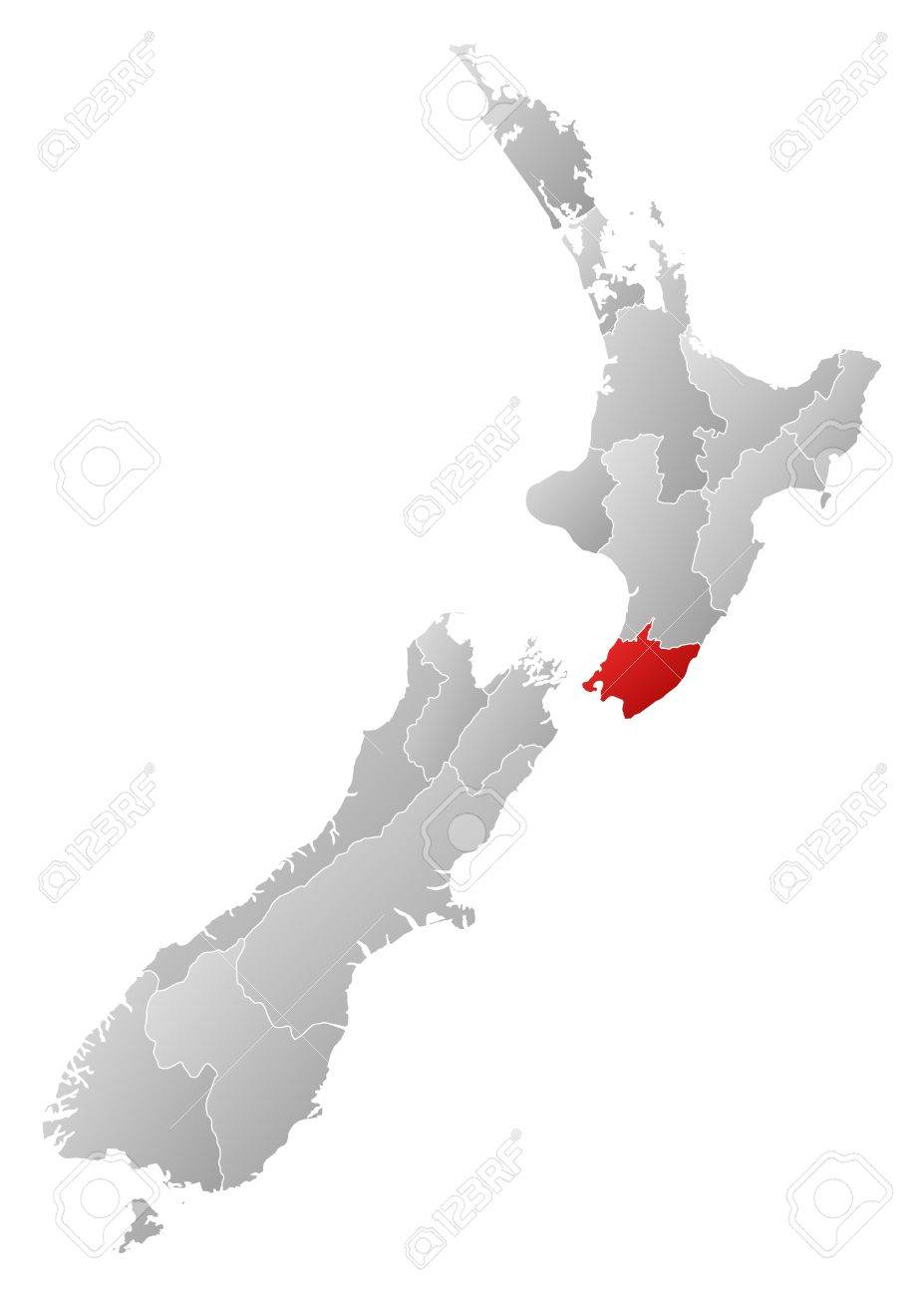 Map Of New Zealand Wellington.Political Map Of New Zealand With The Several Regions Where Wellington