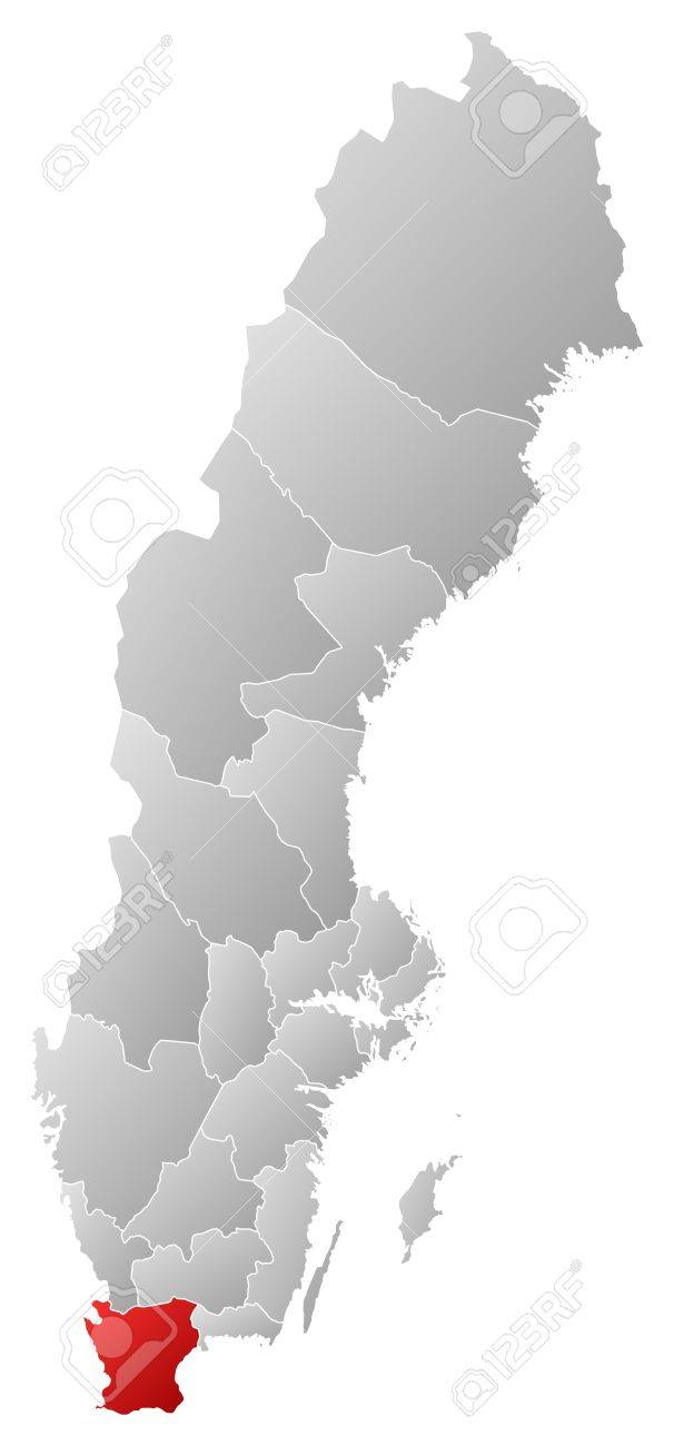 Political map of Sweden with the several provinces where Skane County is highlighted. Stock Vector - 14244586
