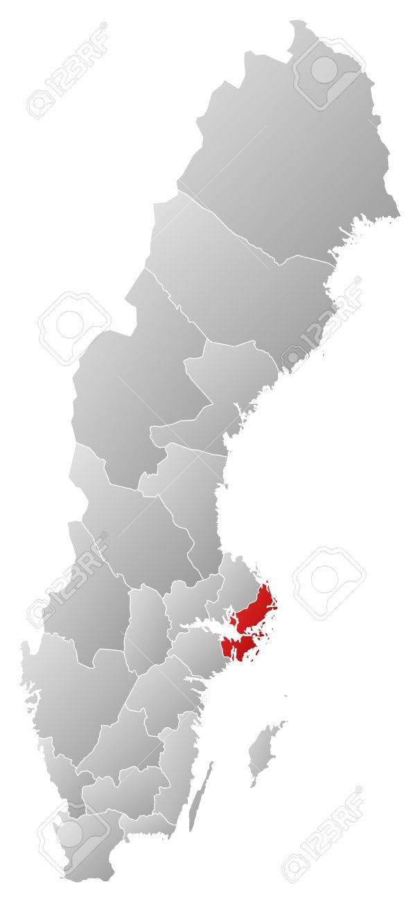 Mapa Politico De Suecia.Mapa Politico De Suecia Con Las Distintas Provincias Donde Se Destaca La Provincia De Estocolmo