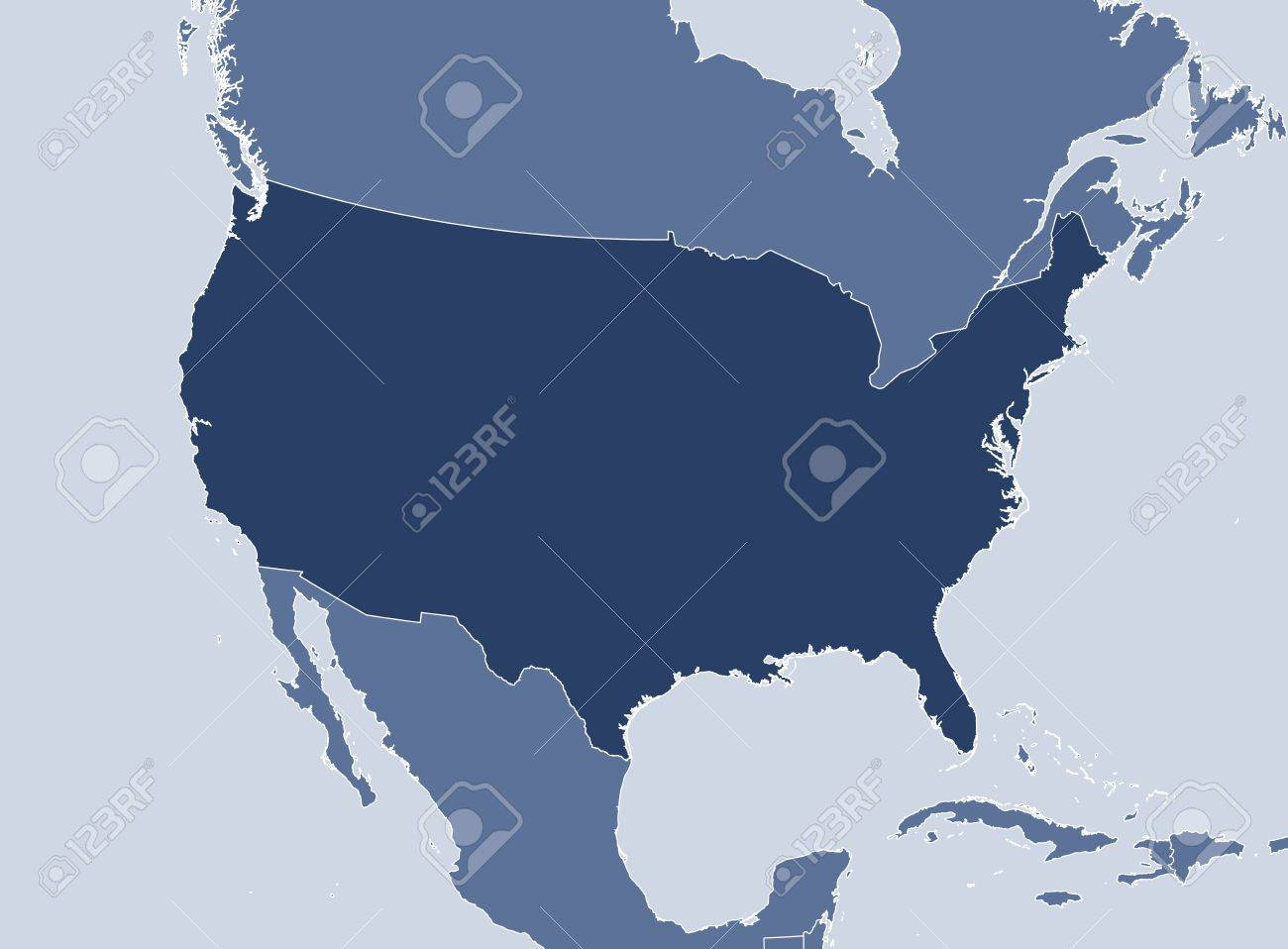 Political map of the United States with the several states. - 14274091