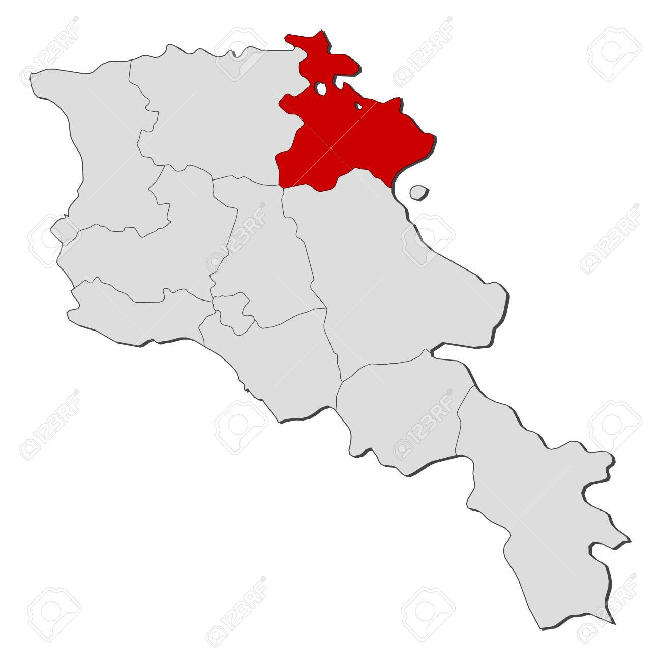 Political Map Of Armenia With The Several States Where Tavush - Political map of armenia