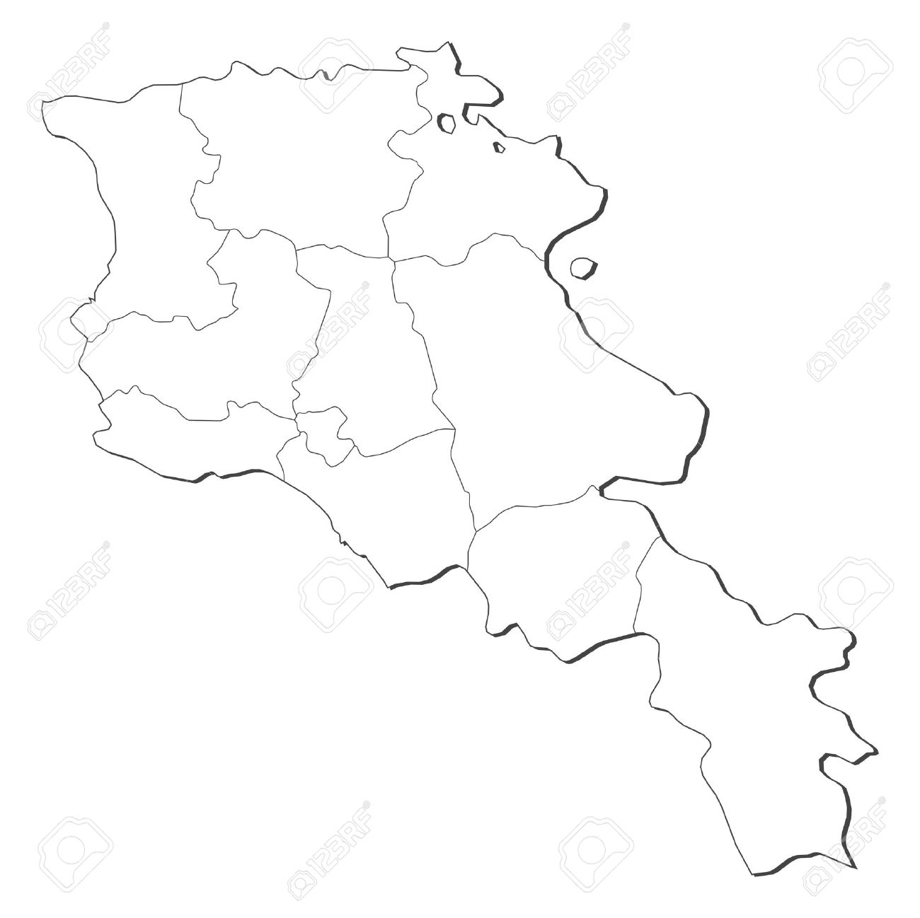 Political Map Of Armenia With The Several Provinces Royalty Free - Political map of armenia
