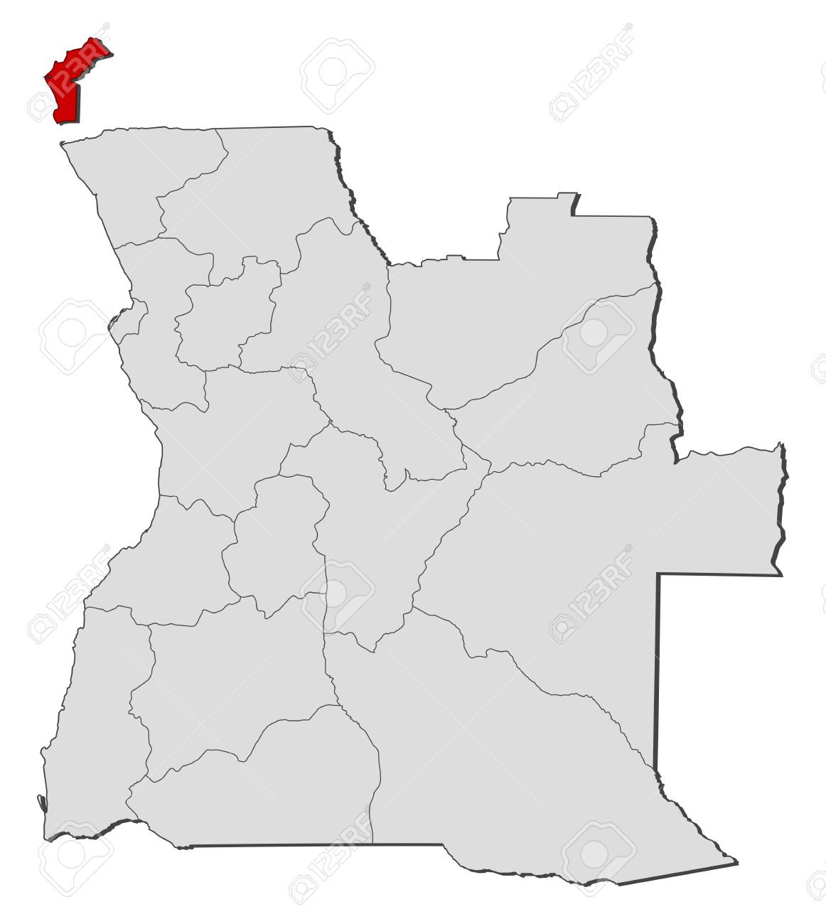 Political Map Of Angola With The Several States Where Cabinda - Political map of angola