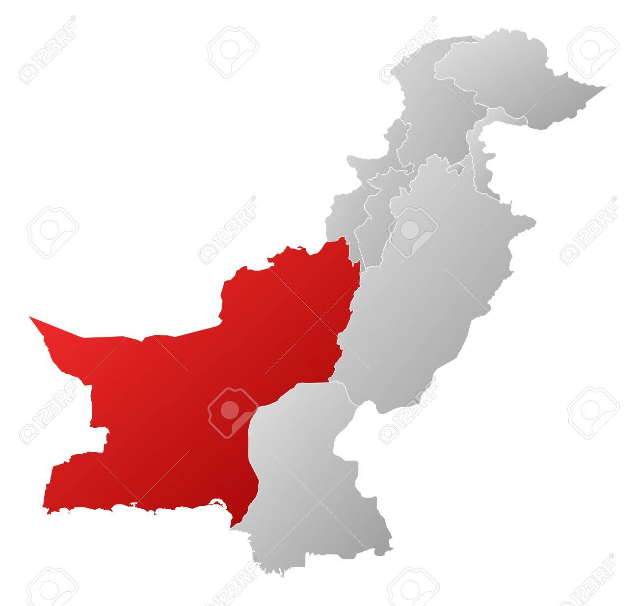 Political map of Pakistan with the several provinces where Balochistan is highlighted. Stock Vector - 14368537