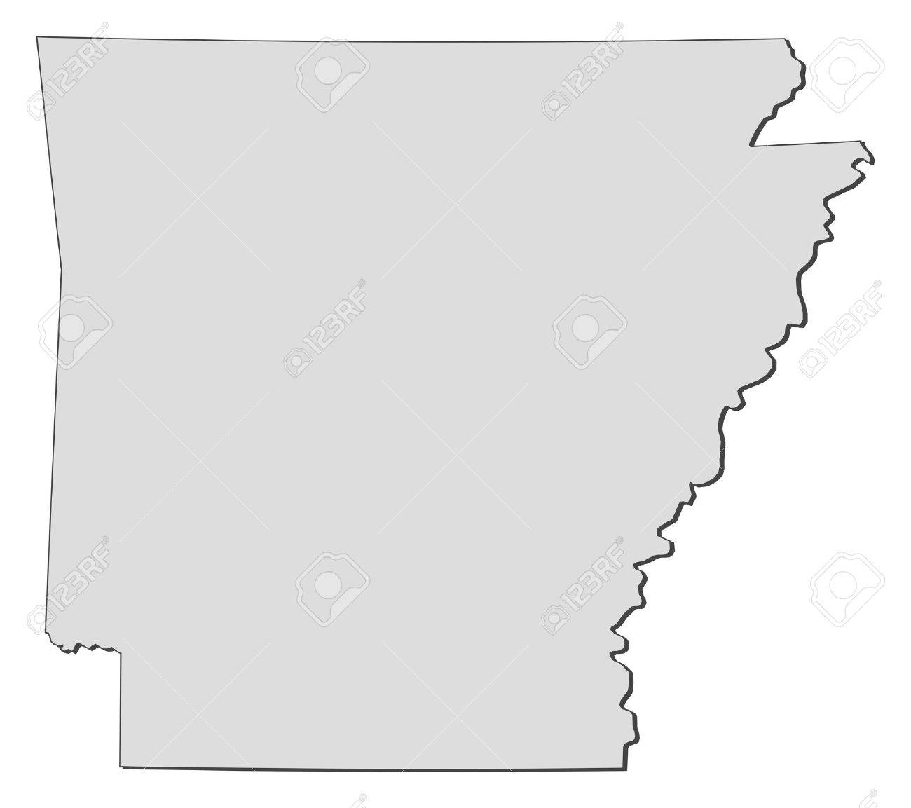 Map Of Arkansas A State Of United States Royalty Free Cliparts - Arkansas us map