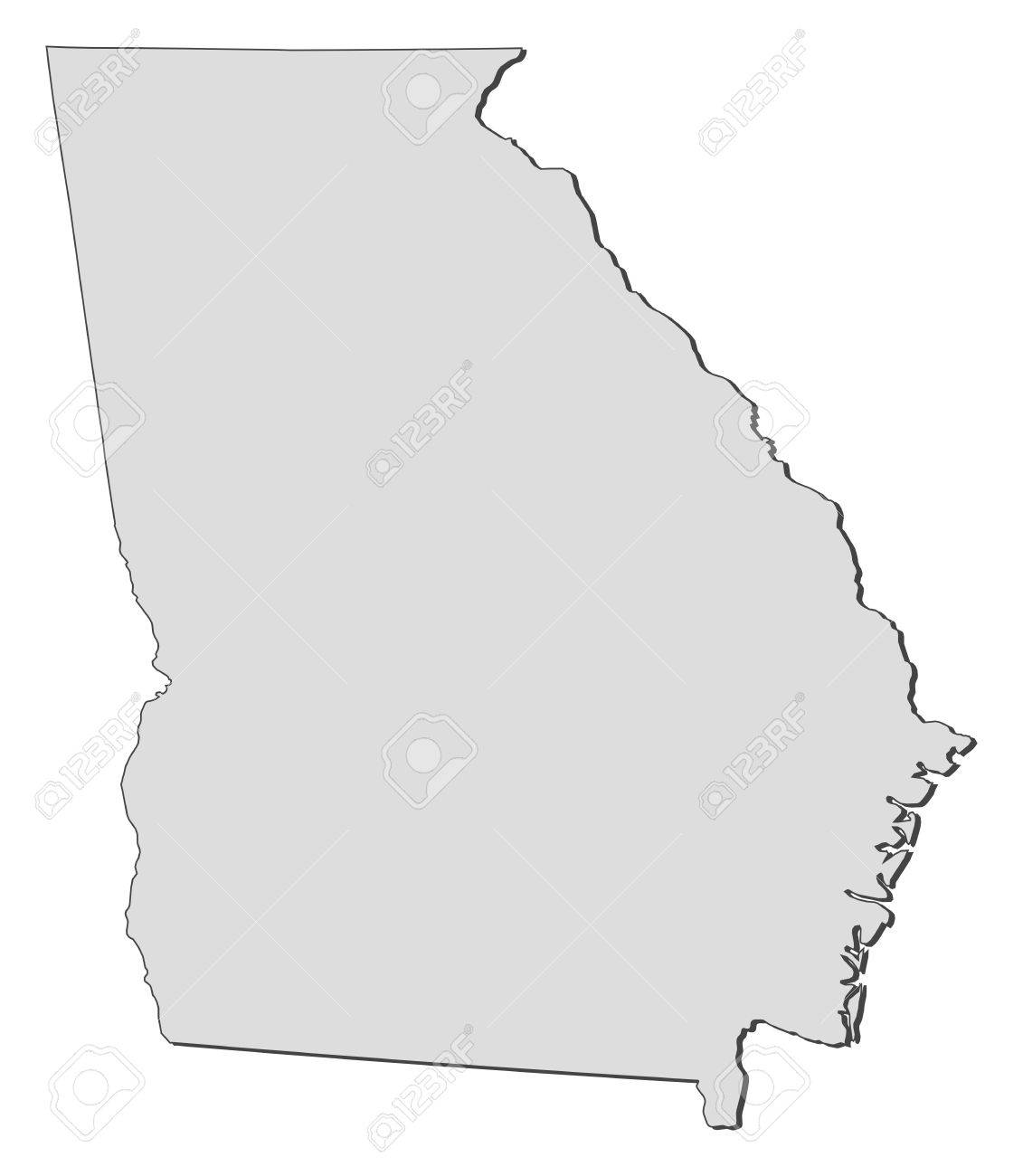 Map of Georgia, a state of United States. Stock Vector - 14368623