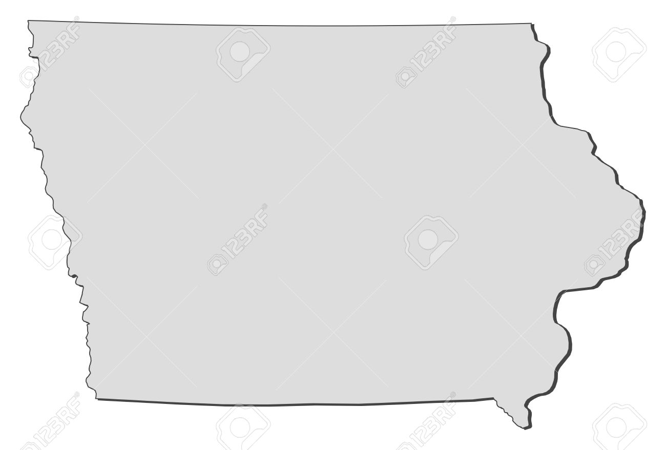 Map Of Iowa A State Of United States Royalty Free Cliparts - State of iowa map