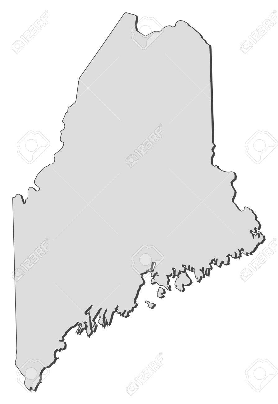 Map Of Maine A State Of United States Royalty Free Cliparts - Map state of maine