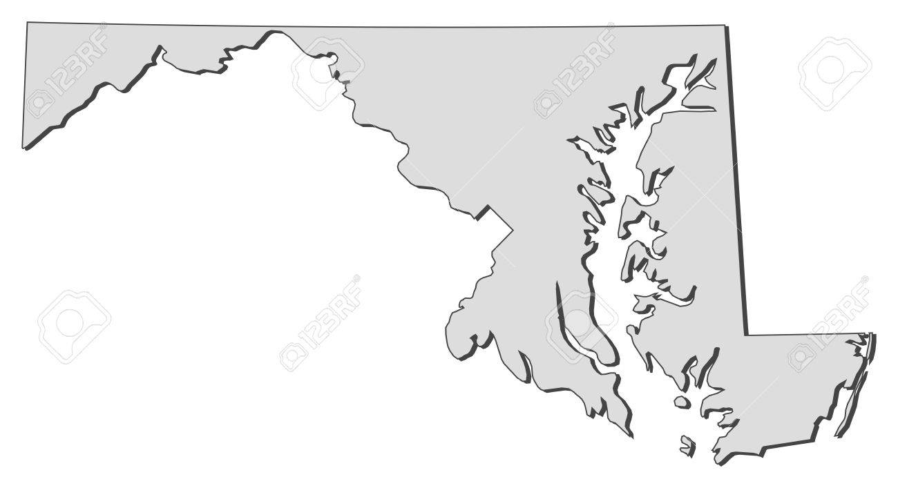 Map Of Maryland A State Of United States Royalty Free Cliparts - Us map maryland state