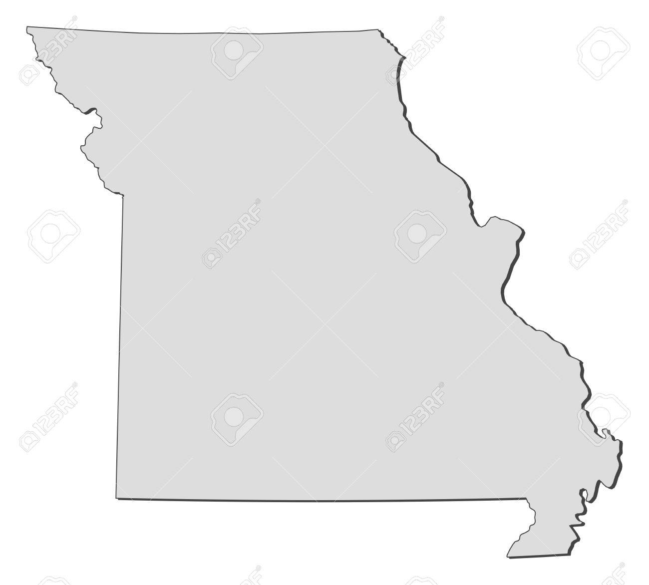 Map Of Missouri A State Of United States Royalty Free Cliparts - United states map of missouri