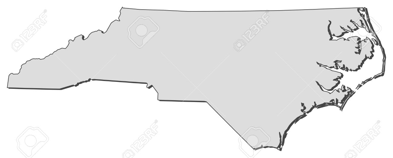 map of north carolina, a state of united states. royalty free