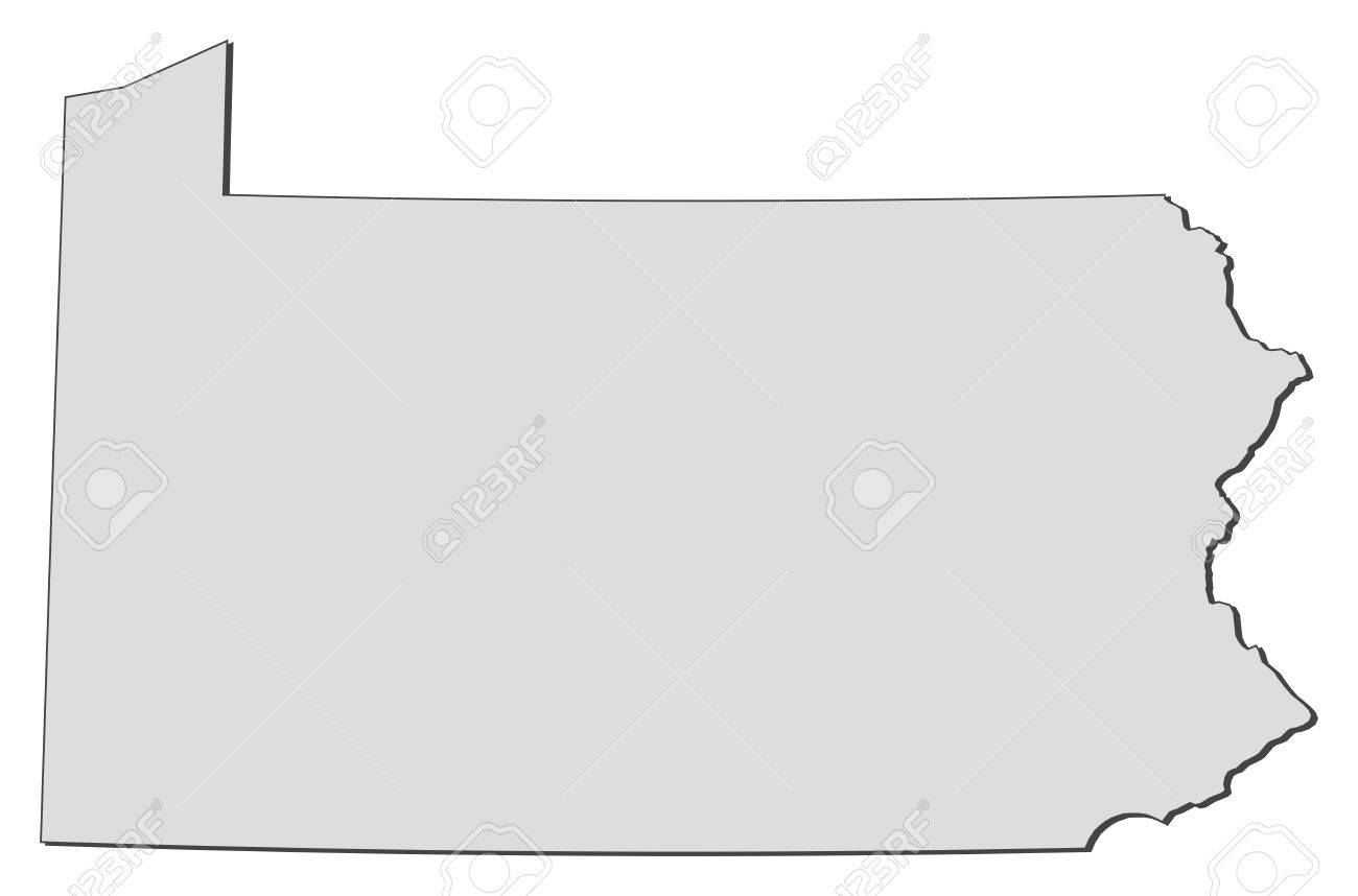 Map Of Pennsylvania A State Of United States Royalty Free - Us map with states outlined vector
