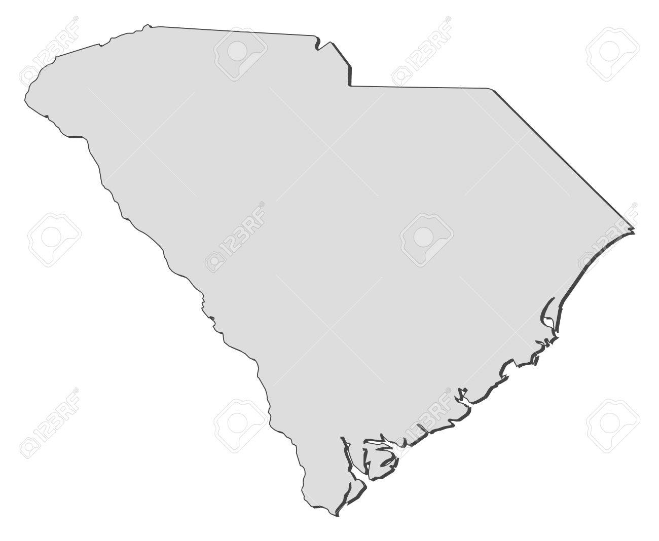Map Of South Carolina A State Of United States Royalty Free - Sc state map