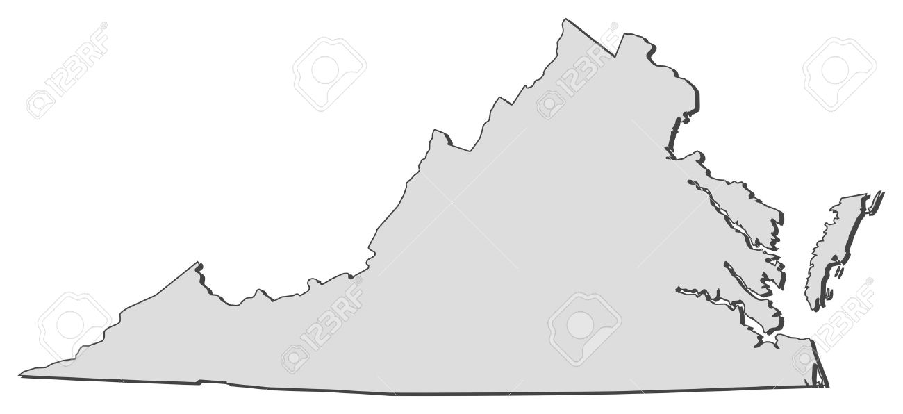Outline Map Of Virginia.Map Of Virginia A State Of United States Royalty Free Cliparts