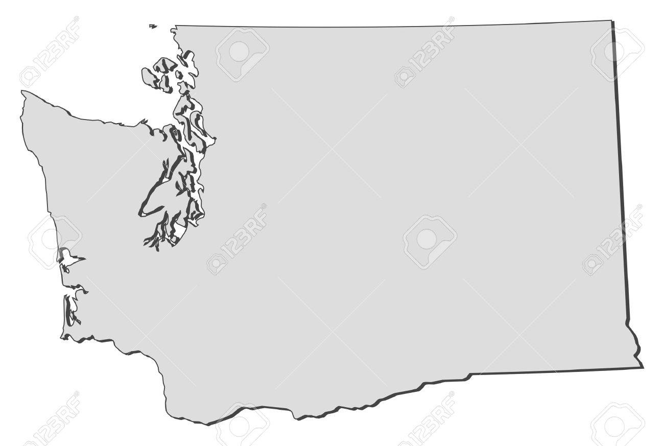 Map Of Washington A State Of United States Royalty Free Cliparts - Free paper us map