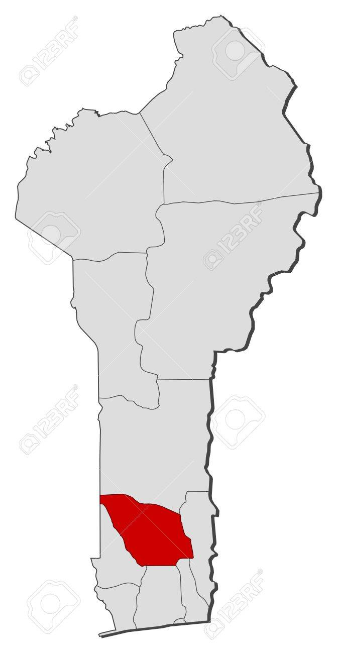 Political map of Benin with the several departments where Zou is highlighted. Stock Vector - 14395906