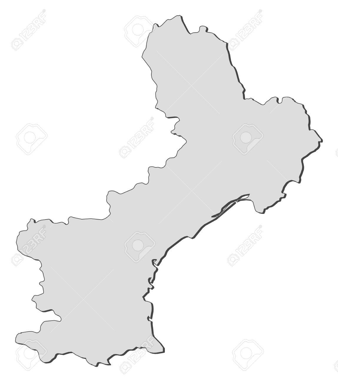 Map of Languedoc-Roussillon, a region of France. Stock Vector - 14396201