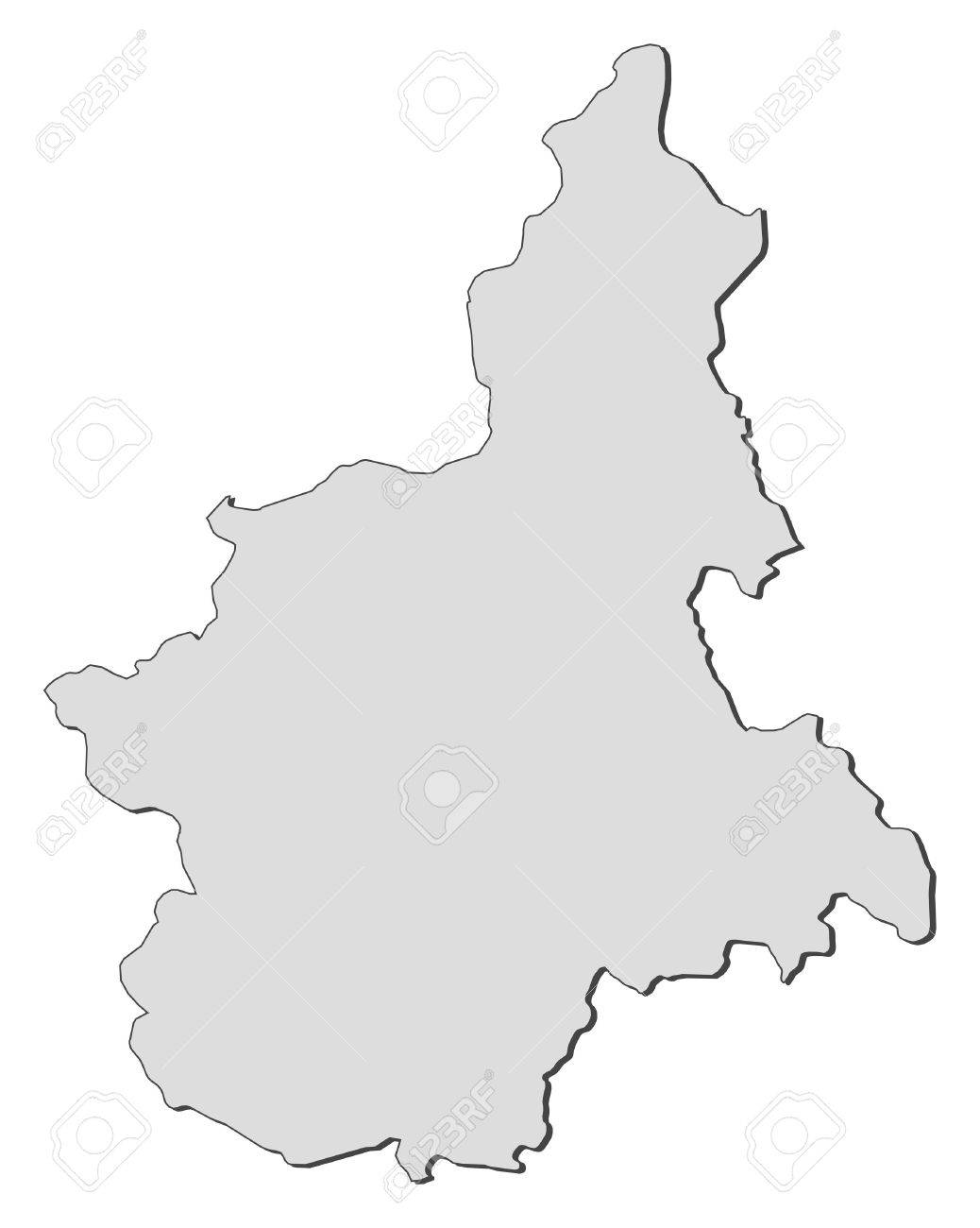 Map of Piedmont, a region of Italy. - 14396189