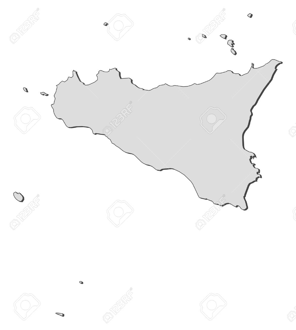 Map of Sicily, a region of Italy. - 14396166
