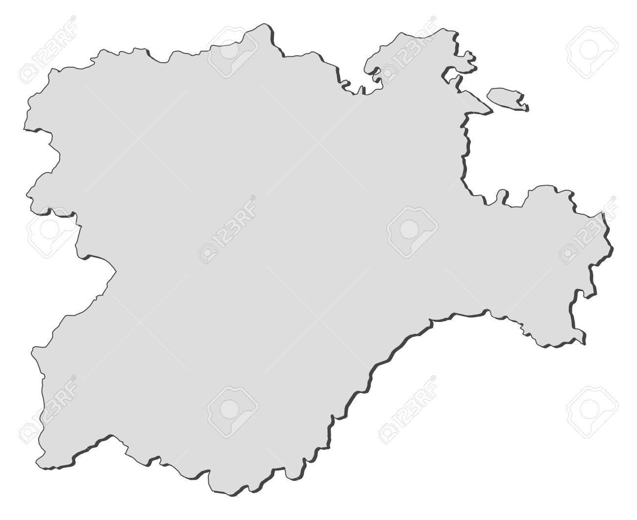 Map of Castile and Leoacuten, a region of Spain. Stock Vector - 14415030
