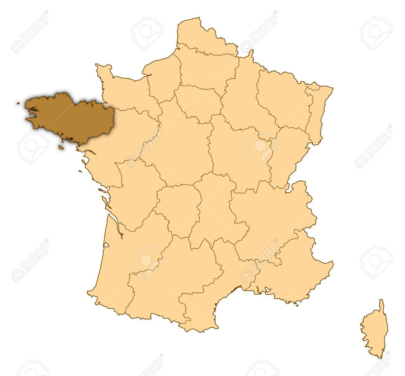 Brittany On Map Of France.Map Of France Where Brittany Is Highlighted Stock Photo Picture