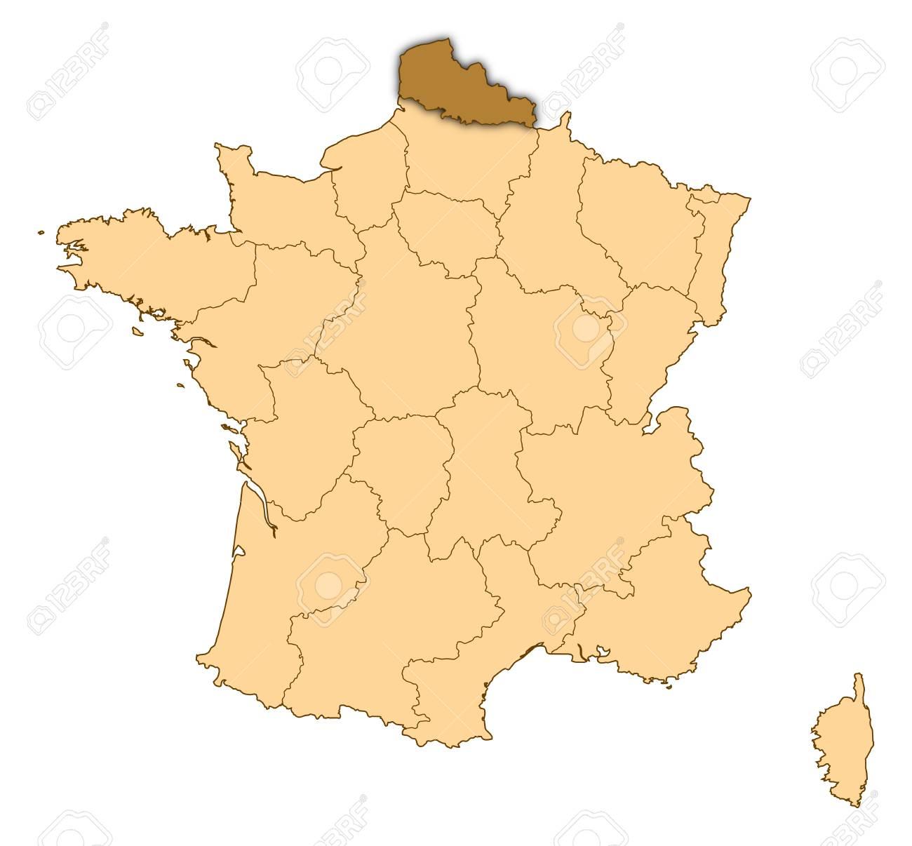 Map Of France Calais.Map Of France Where Nord Pas De Calais Is Highlighted