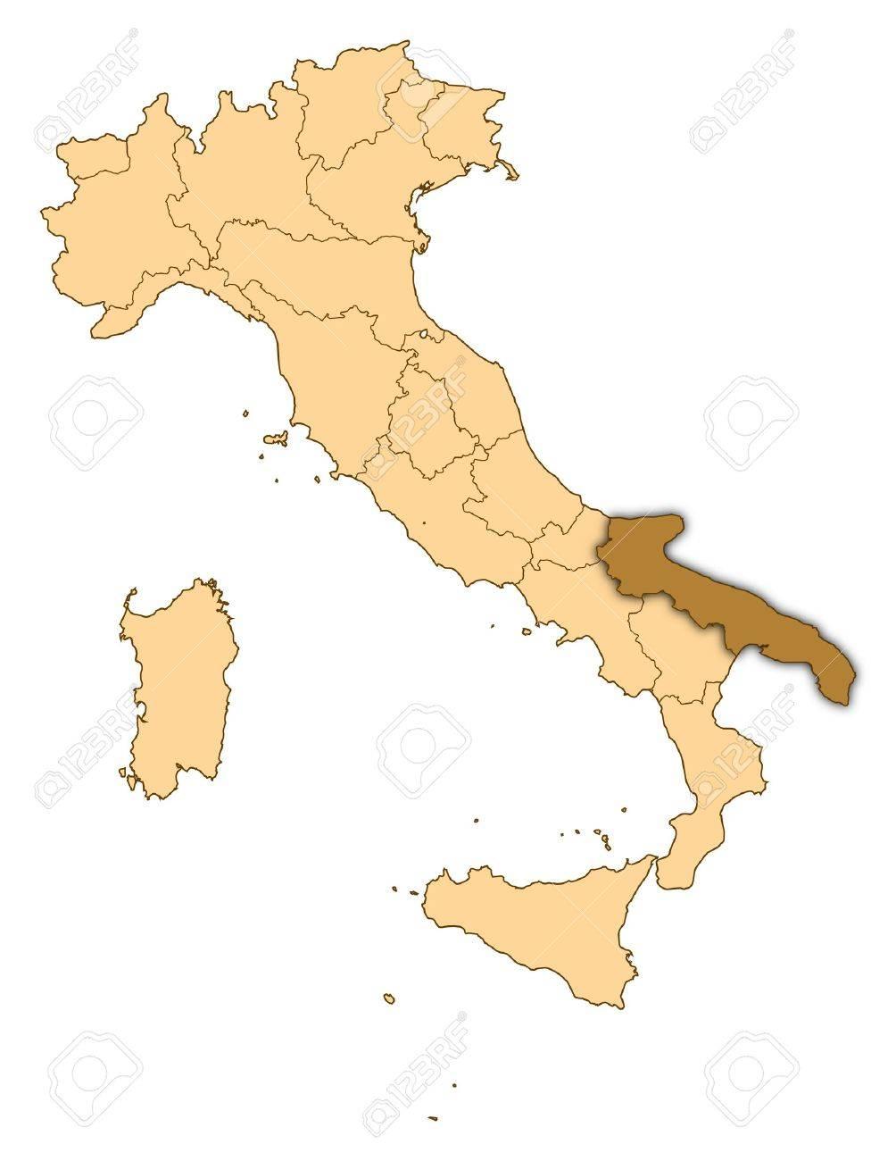 Cartina Italia Puglia.Immagini Stock Mappa Di Italia Dove E Evidenziato Puglia Image 14415068
