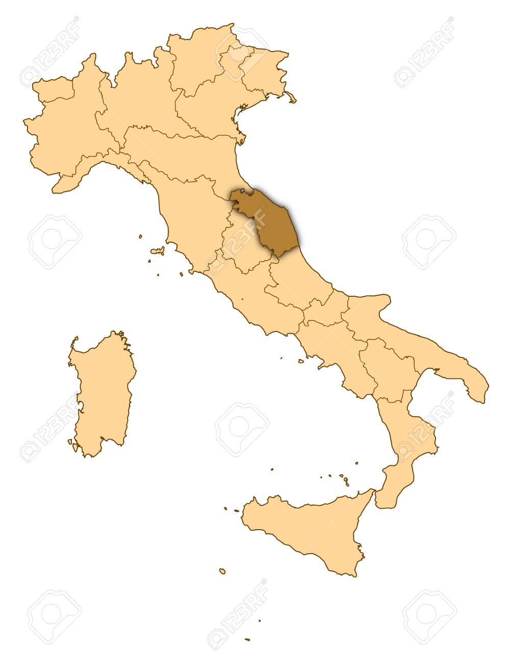 Marche Cartina Italia.Map Of Italy Where Marche Is Highlighted Stock Photo Picture And Royalty Free Image Image 14415056